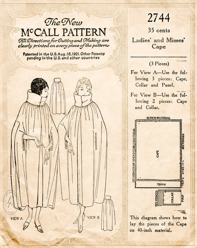 McCall 2744 1920s opera cape high funnel neck vintage sewing pattern repro
