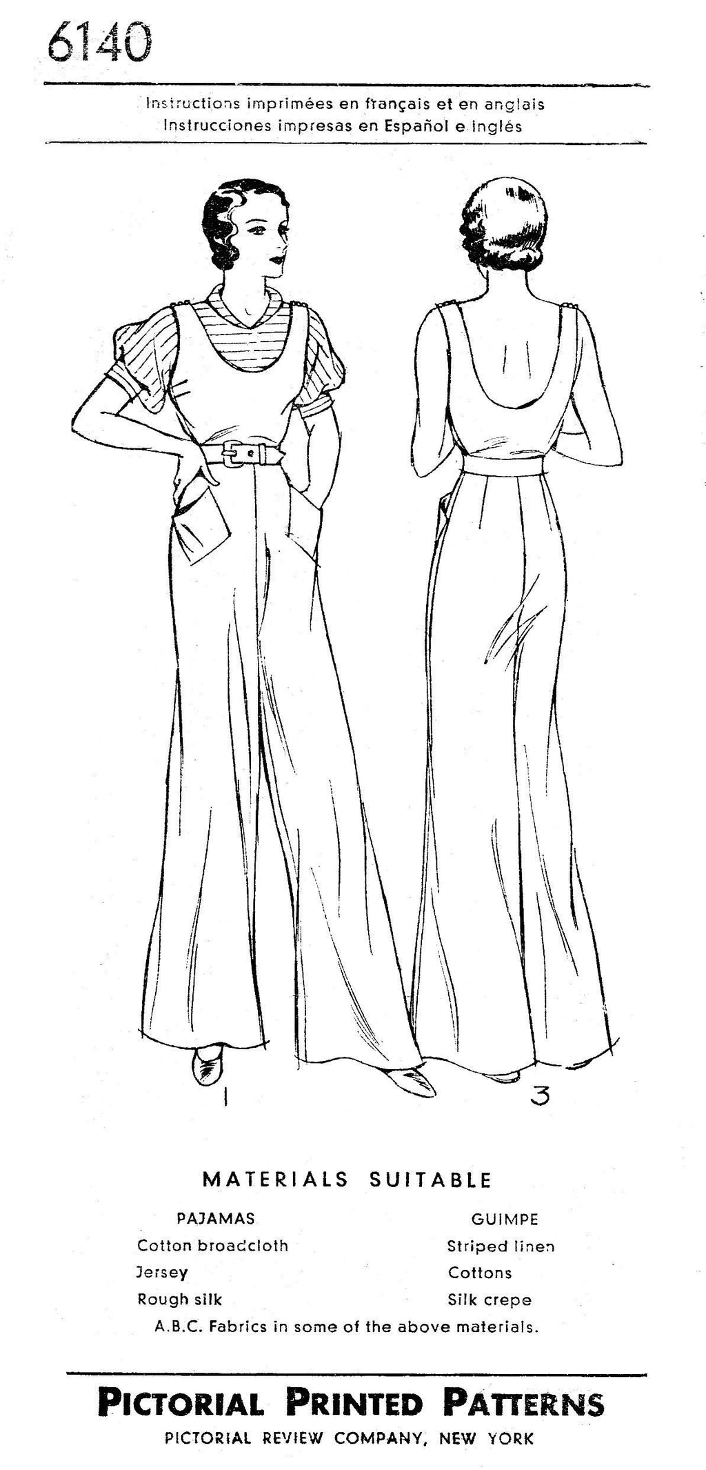 Pictorial Review 6140 1930s jumpsuit vintage sewing pattern