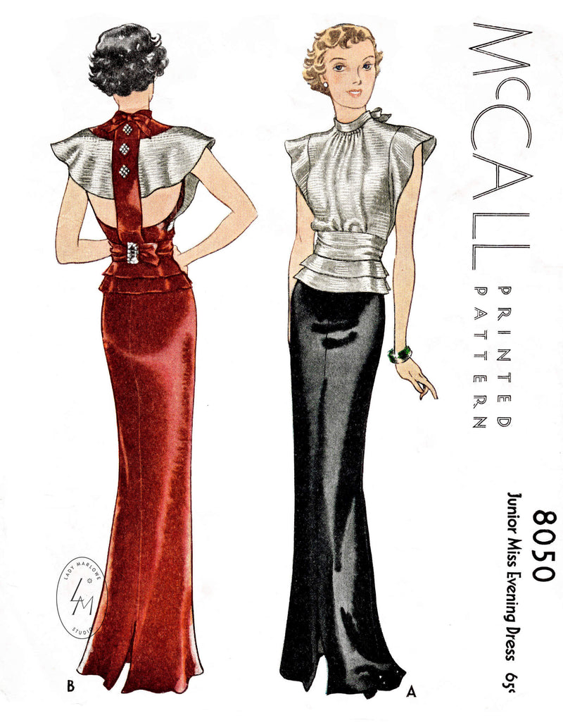 McCall 8050 1934 1930s evening gown pattern