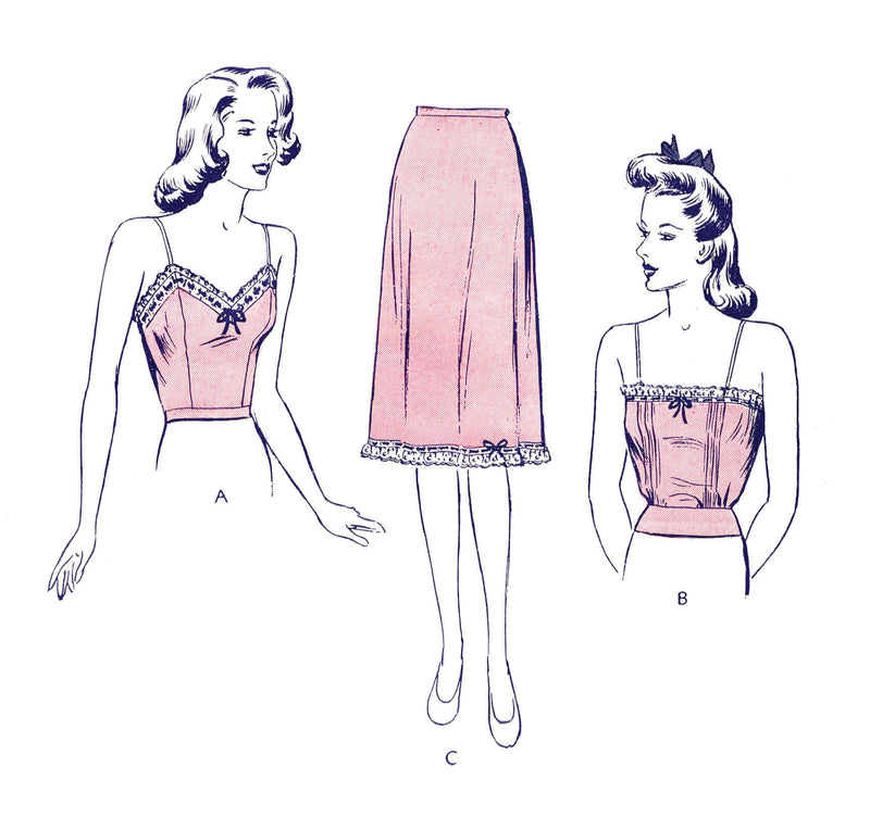 1940s 40s lingerie sewing pattern Butterick 2642 camisole & slip skirt vintage pattern reproduction