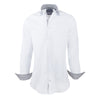 White Poplin Slim Fit Stripe Contrast Collar Semi Cutaway Dress Shirt - luxury shirt williamandedwards