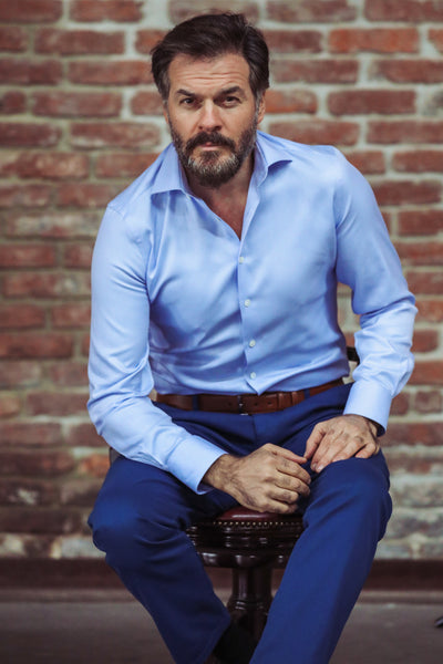 Blue small Herringbone Semi Cutaway  Collar Shirt