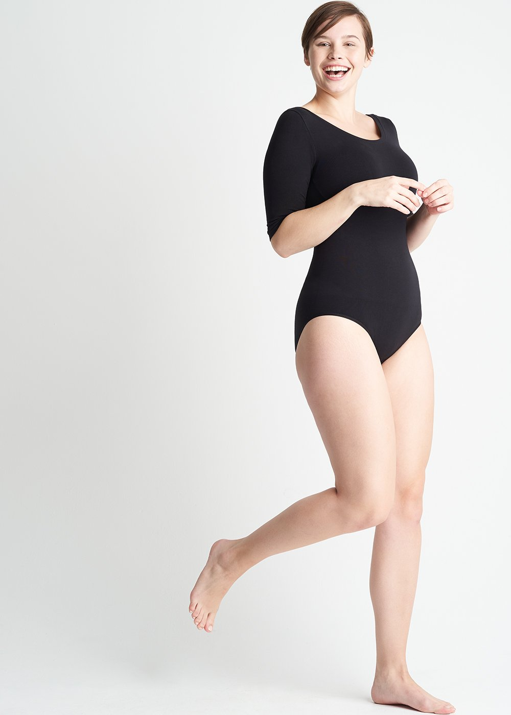 Ballet Shaping Full Back Bodysuit in black
