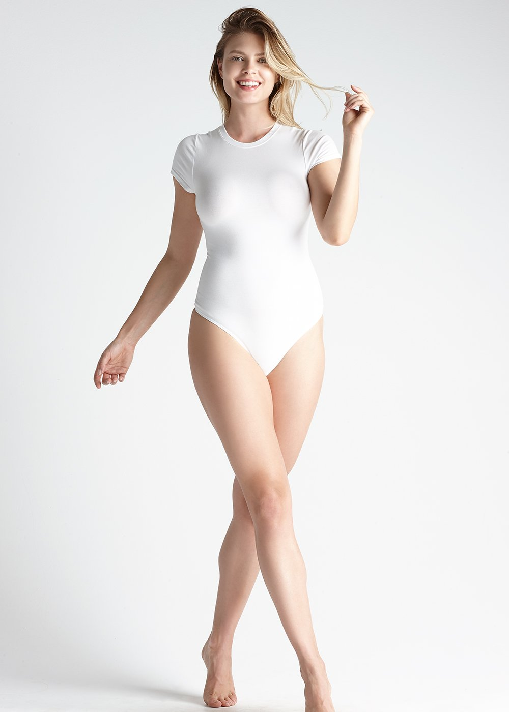 Short Sleeve Shaping Thong Back Bodysuit in white