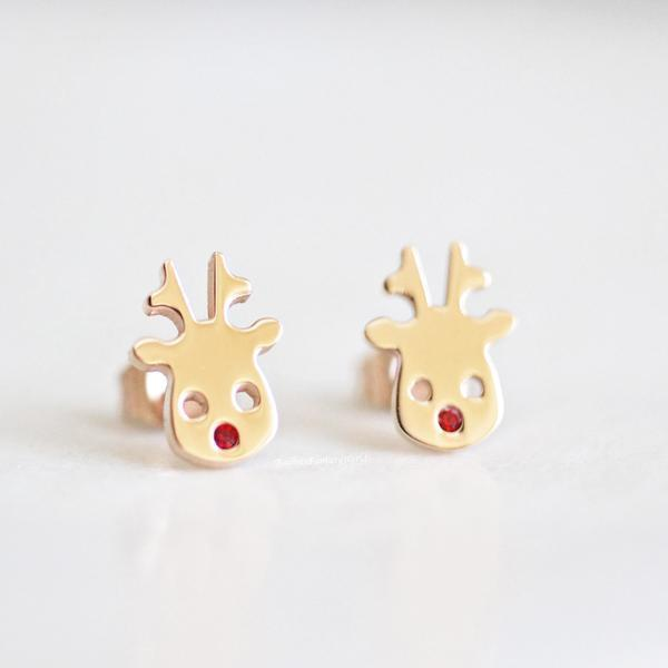 Rabbits Fantasy World Earrings Rose Gold Rudolf Reindeer Stud Earrings 0720252999463 tween and teen