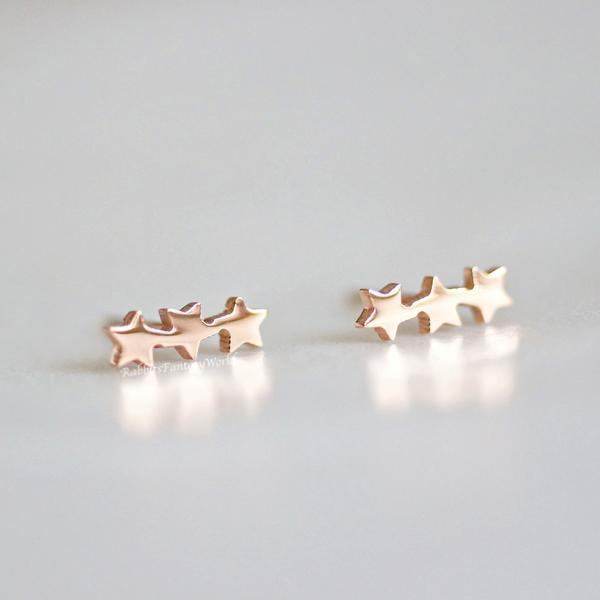 Rabbits Fantasy World Earrings Rose Gold Triple Star Stud Earrings 0720252999173 tween and teen