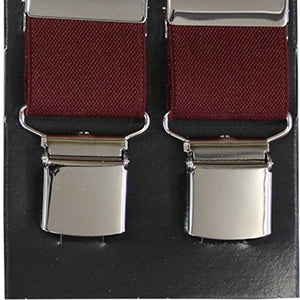 Plain Burgundy Wide Luxury Braces - Extra Strong Clip - 44
