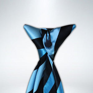 Aqua and Black Stripe Clip On Tie (JH-1080)
