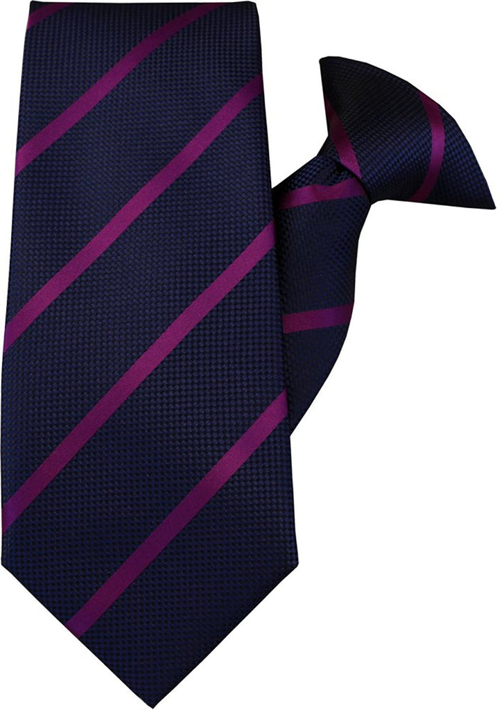 Navy with Purple Stripe Clip On Tie (JH-1016)