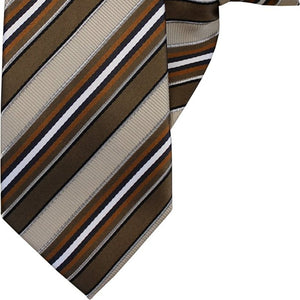 Brown, Beige, White and Black Stripe Clip On Tie (JH-1037)