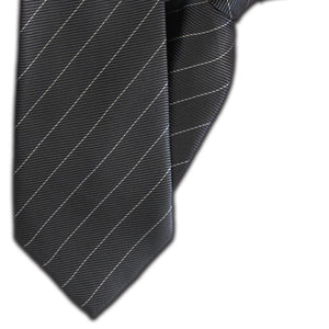 Dark Grey & White Stripe Clip On Tie (JH-1129)