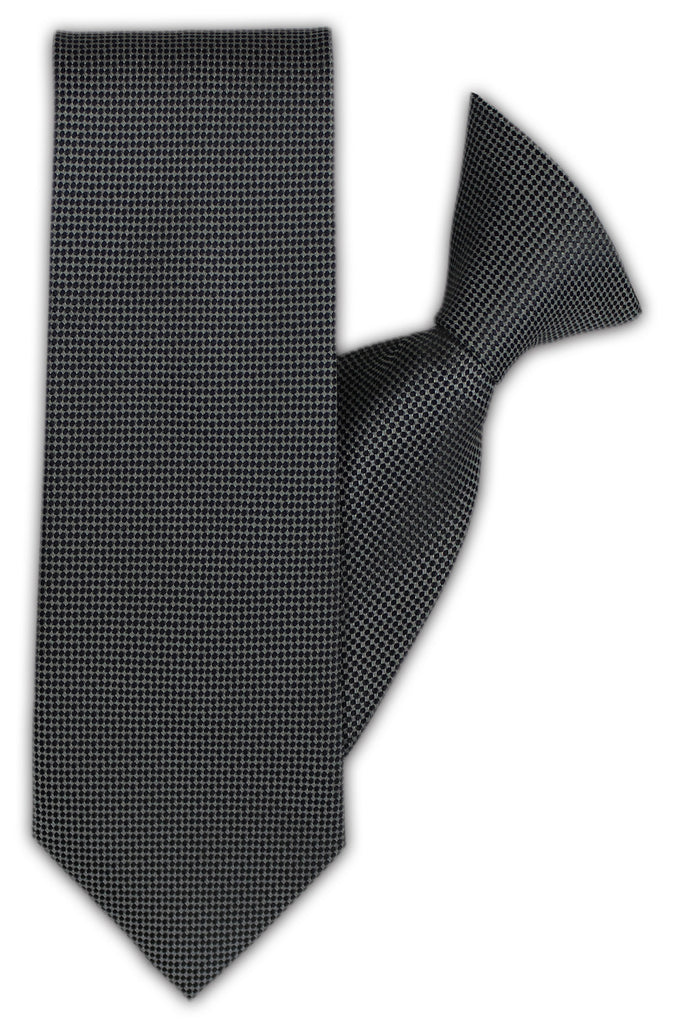 Grey with Small Navy Spot Clip On Tie (JH-1132)