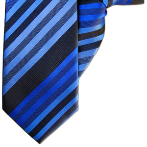 Shades of Blue and Black Stripe Clip On Tie (JH-1144)