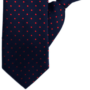 Navy with Red Spots Clip On Tie (JH-1146)