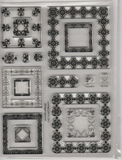 Square FLEUR DE LIS (matches spellbinder die) - CLEAR STAMPS LARGE PACK