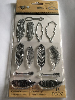 FEATHERS STAMP AND DIE SET - ART C SPELLBINDERS