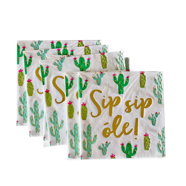 Green and Gold Sip, Sip, Ole Cactus Napkins