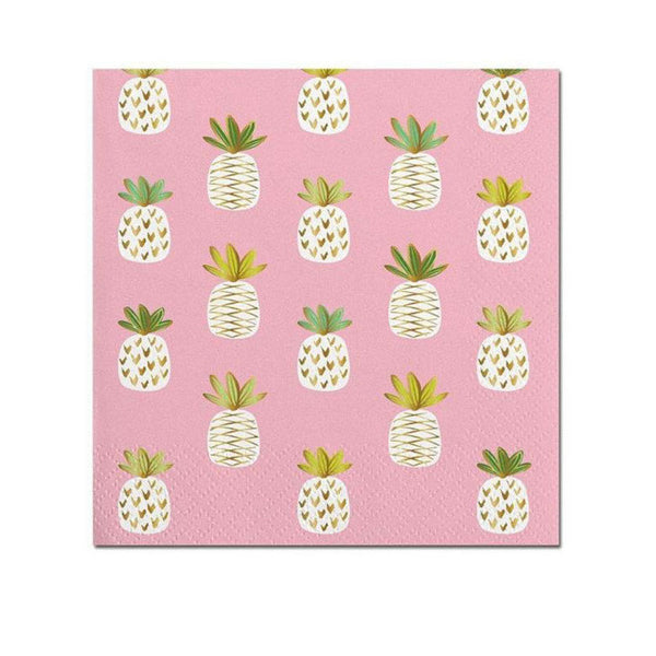 pink and gold pineapple napkins