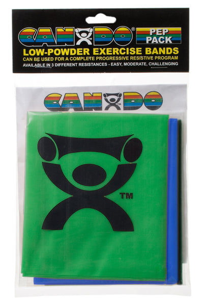CanDoå¨-low-powder-exercise-band-pep-pack---moderate-with-green-blue-and-black-band