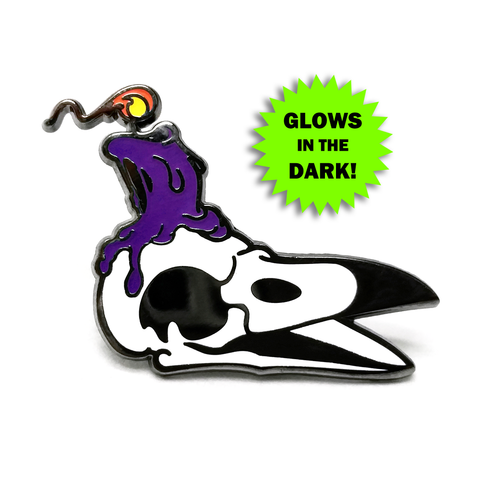 Laughing Crow Candle Co. Enamel Pin (Purple Variant) - 50% OFF!