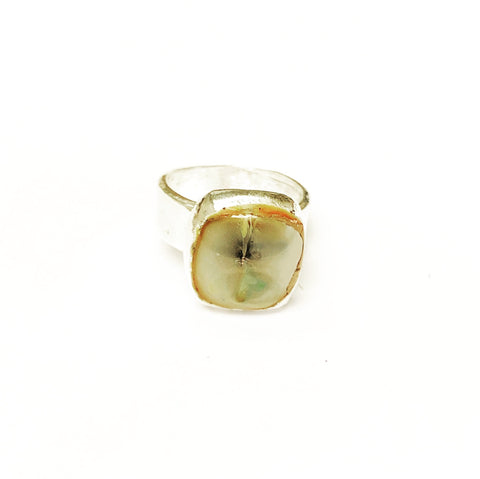 Silver Metal Clay & Fused Glass Ring