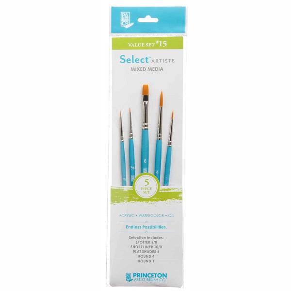 Select Brush Set 3750Set115 5Pcs Spotter 5/0, Short Liner 10/0, Flat Shader 6, Round 1,4 Golden Taklon Synthetic