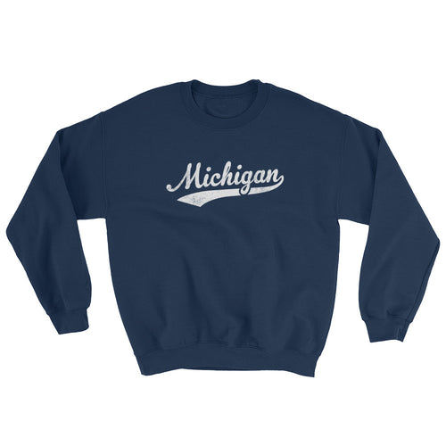 Vintage Michigan MI Sweatshirt with Script Tail Design Adult (Unisex) - JimShorts