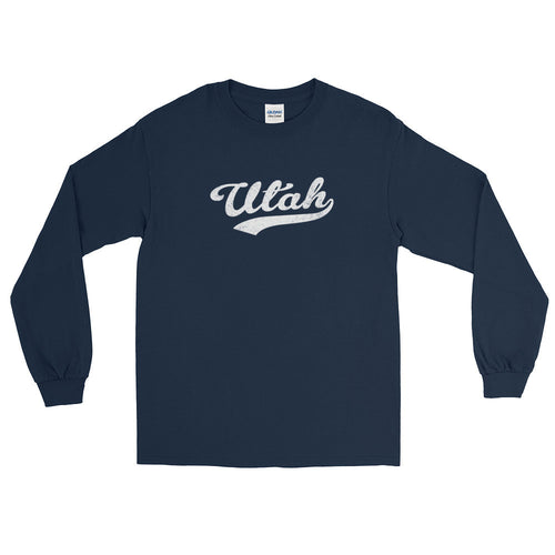 Vintage Utah UT Long Sleeve T-Shirt with Script Tail Design Adult - JimShorts