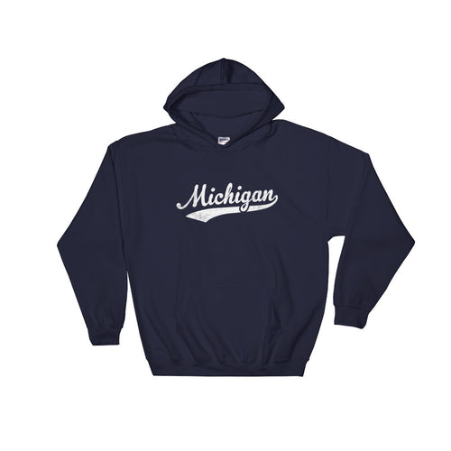 Vintage Michigan MI Hoodie with Script Tail Design Adult (Unisex) - JimShorts