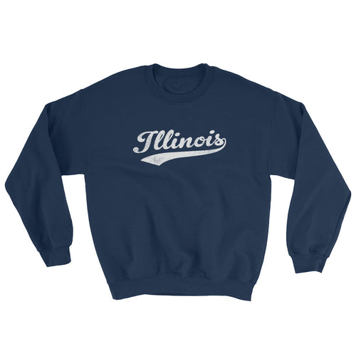 Vintage Illinois IL Sweatshirt with Script Tail Design Adult (Unisex) - JimShorts