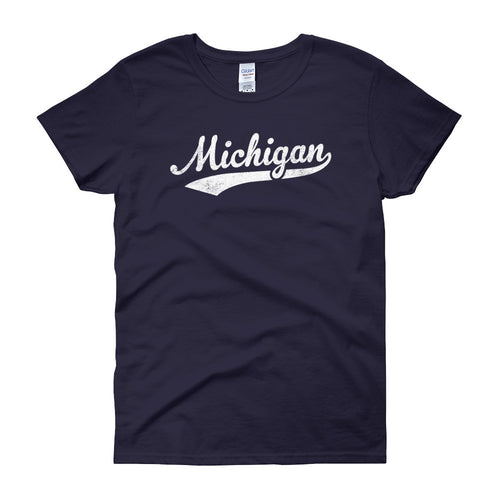 Vintage Michigan MI Women's T-Shirt with Script Tail Design - JimShorts
