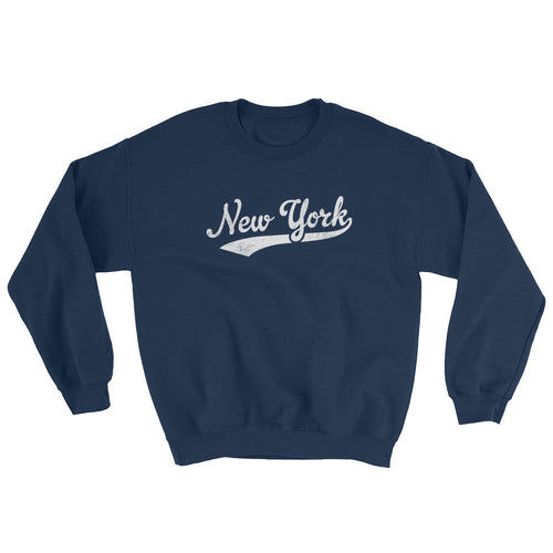 Vintage New York NY Sweatshirt with Script Tail Design Adult (Unisex) - JimShorts