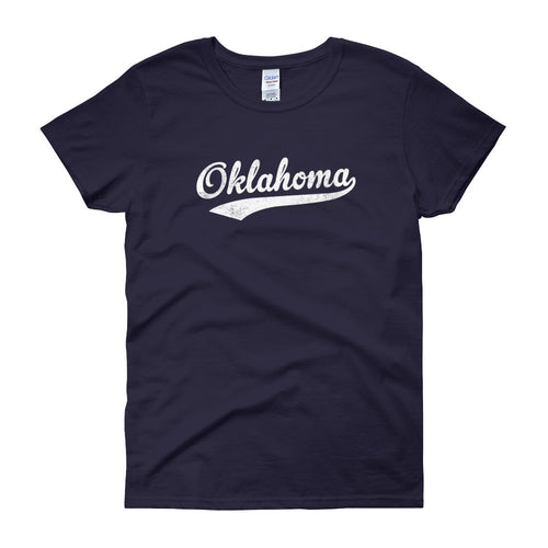 Vintage Oklahoma OK Women's T-Shirt with Script Tail Design - JimShorts