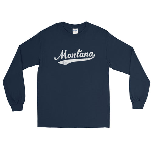 Vintage Montana MT Long Sleeve T-Shirt with Script Tail Design Adult - JimShorts