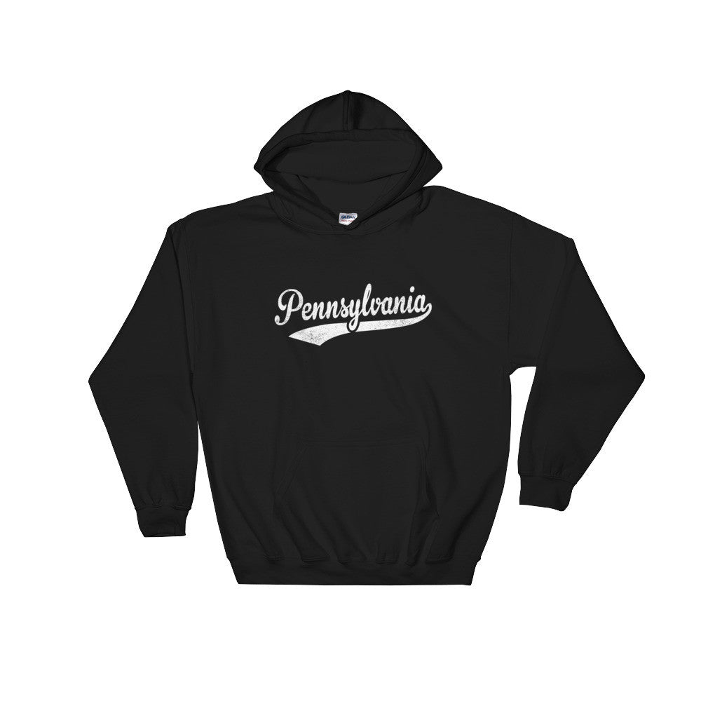 Vintage Pennsylvania PA Hoodie with Script Tail Design Adult (Unisex) - JimShorts