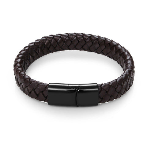 Image of BLACK-BROWN BRAIDED LEATHER BRACELET