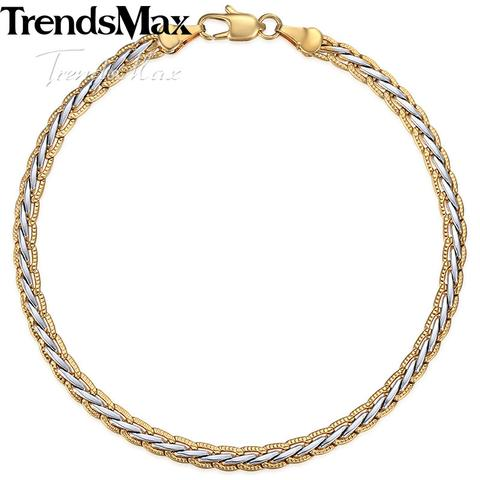 GOLD SILVER COLOR BRAIDED WHEAT BRACELET