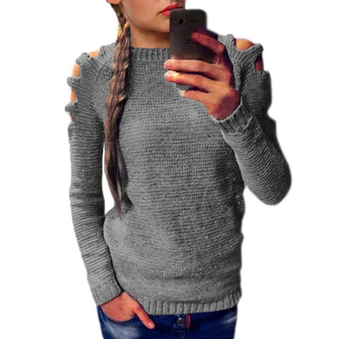 Image of SEXY HOLLOW-OUT SHOULDER LONG SLEEVE KNITTED SWEATER