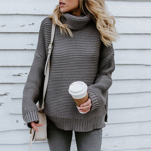 RETRO TURTLENECK KNITTED LONG PULLOVER - LOOSE SOLID THICK KNITTING SWEATER