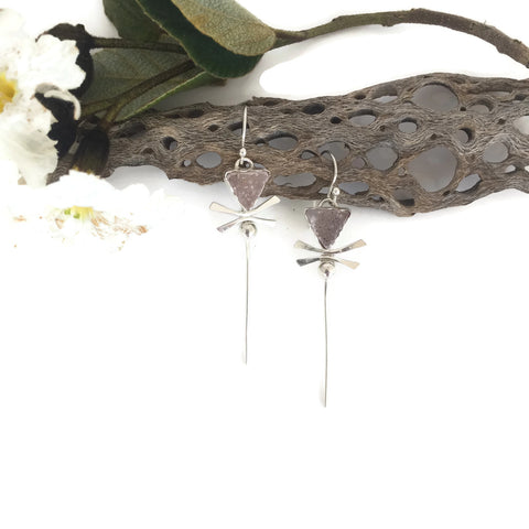 Pink Drusy Dragonfly Earrings