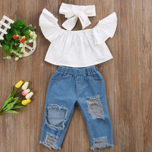 3-Piece Crop Top & Destroyed Denim Set - My Modern Kid
