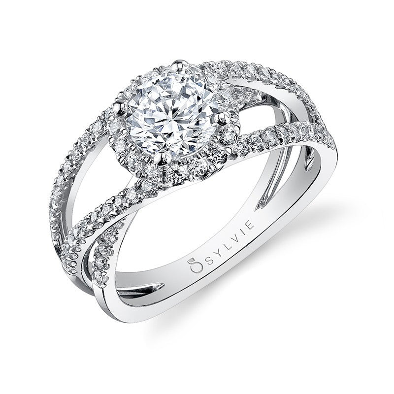 Bold Criss-Cross Split-Shank Diamond Engagement Ring - from Holsten Jewelers