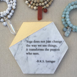 Hexagon Marble & Gold Tile Adorned with BKS Iyengar Quote // Yoga transforms...