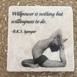 Marble Tile Adorned with BKS Iyengar Quote // Willpower