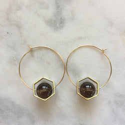 Satya Earrings - Smoky Quartz