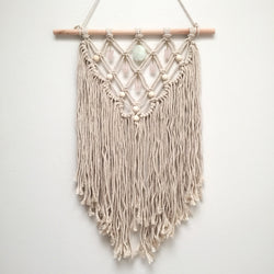 Aquamarine & Rose Quartz Macrame Wall Hanging