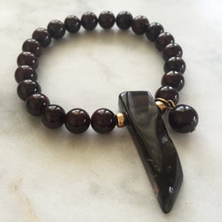 Thou Art That Bracelet - Red Garnet & Smoky Quartz