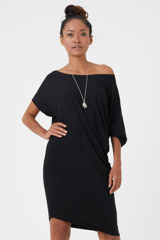 Women's organic black jersey dress made from sustainable fabrics