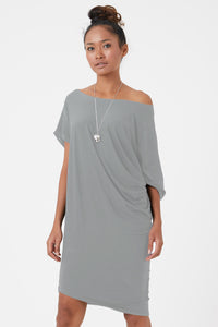 Women's organic jersey dress in stone colour