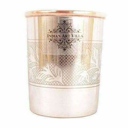 Embossed Design Steel Copper Glass Tumbler (250ml) - Set of 2 - Dista Cart